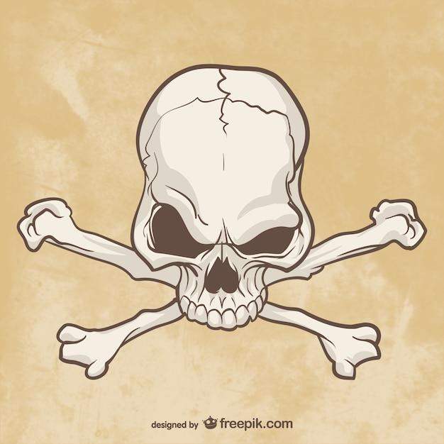 Crâne et os dessin Vecteur gratuit