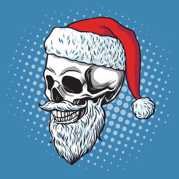 Crâne de père noël barbu. cartoon vector illustration dessinée à la main Vecteur Premium