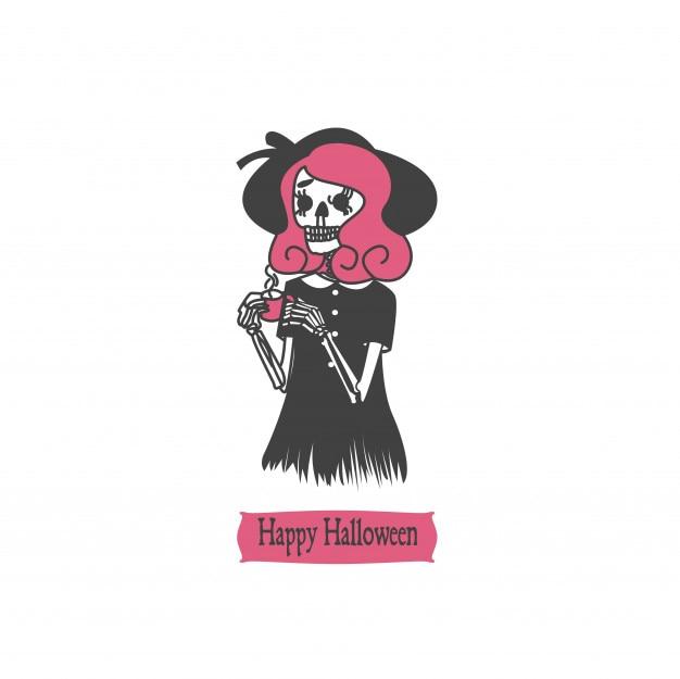 Crâne de personnage de halloween Vecteur Premium