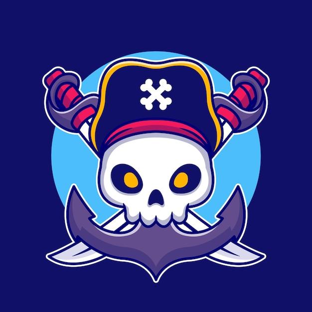 Crâne De Pirate Avec Illustration De Dessin Animé D'ancre Vecteur gratuit