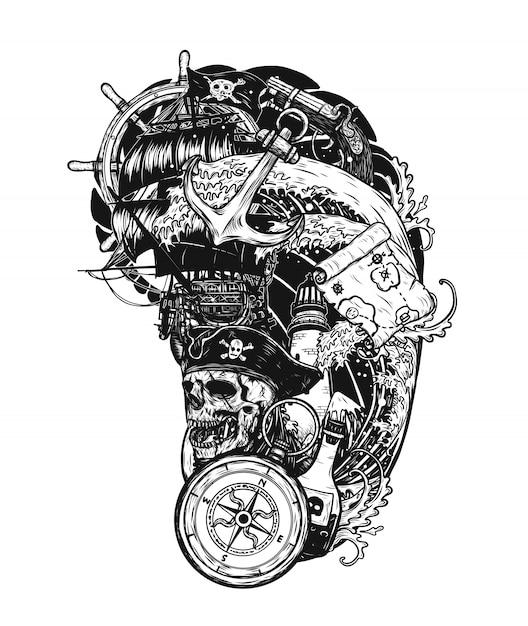 Crâne de pirate avec tatouage de navire vecteur à la main, dessin. Vecteur Premium