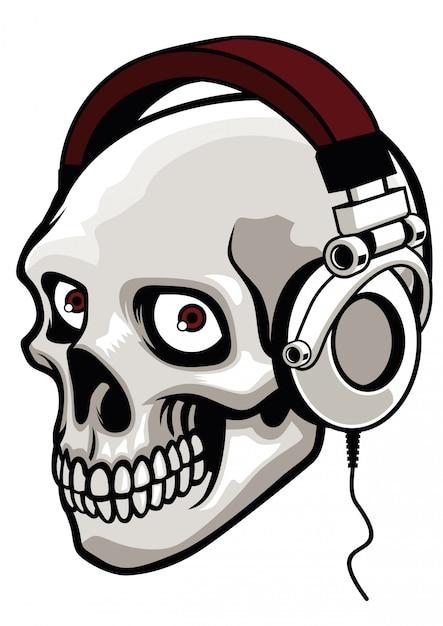 Crâne portant un casque de musique Vecteur Premium