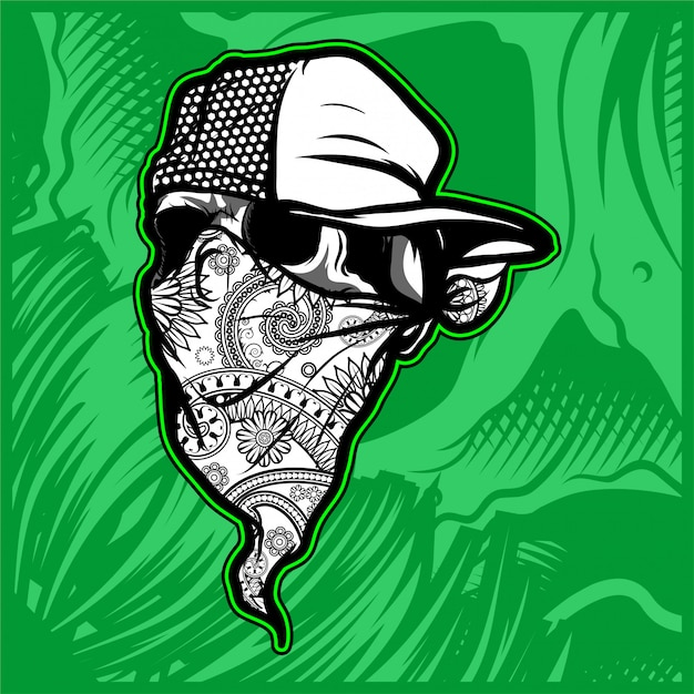 Crâne portant chapeau et vecteur de bandana Vecteur Premium