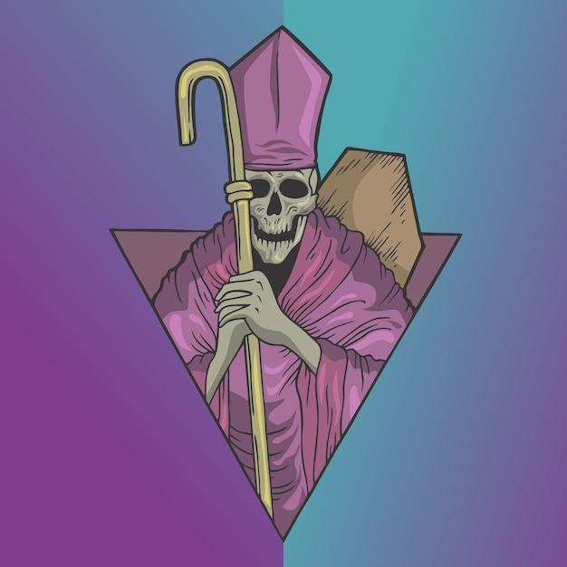 Crâne de prêtre effrayant Vecteur Premium