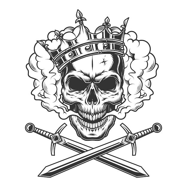 Crâne De Prince Vintage Dans Un Nuage De Fumée Vecteur gratuit