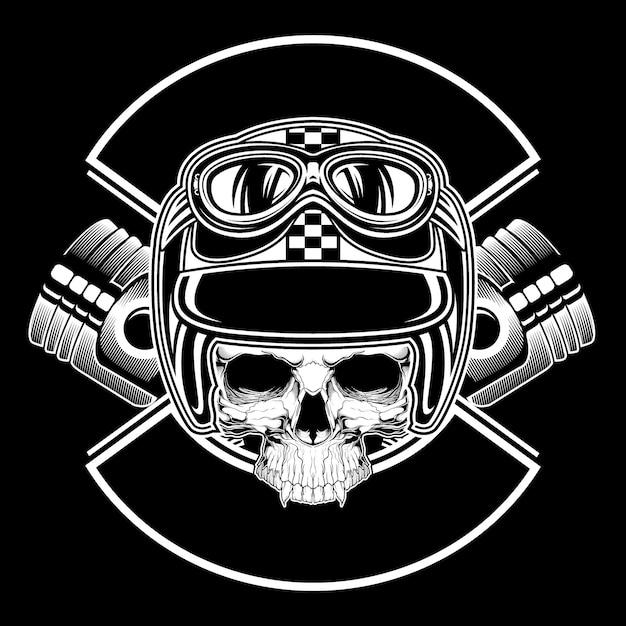 Crâne rétro portant casque dessin vectoriel Vecteur Premium