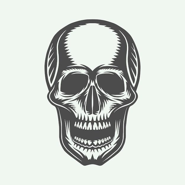 Crâne rétro vintage Vecteur Premium