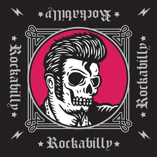 Crâne rockabilly Vecteur Premium