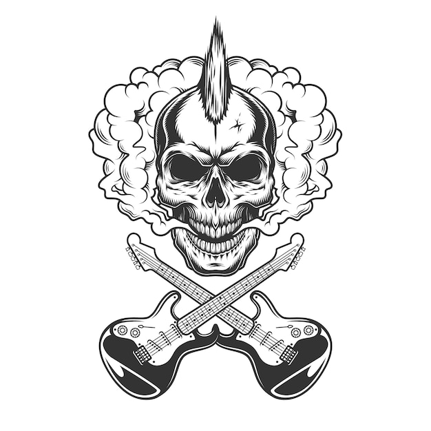 Crâne De Rocker Avec Mohawk Vecteur gratuit
