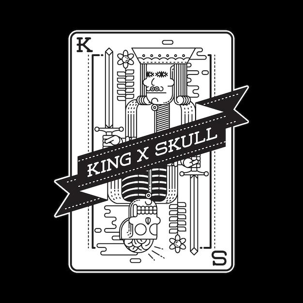 Crâne Roi Horreur Carte Graphique Illustration Art Conception De Tshirt Vecteur Premium