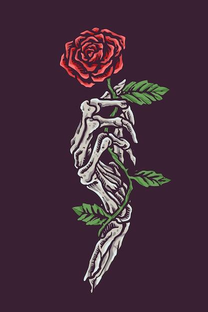 Crâne Romantique Vintage Tenant Une Fleur Vecteur Premium