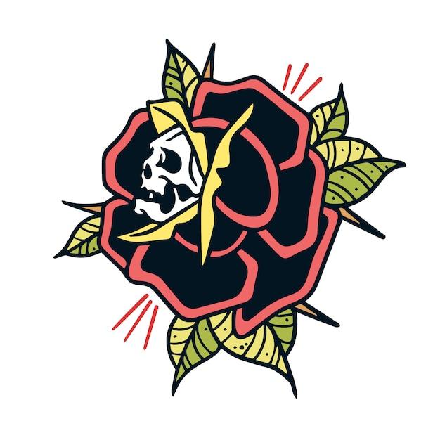 Crâne et rose tatouage old school Vecteur Premium