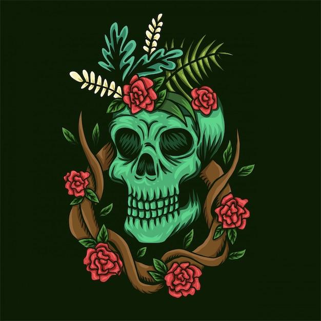 Crâne et roses vector illustration Vecteur Premium