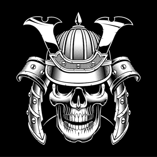 Crâne De Samouraï Sur Fond Sombre. Vecteur Premium