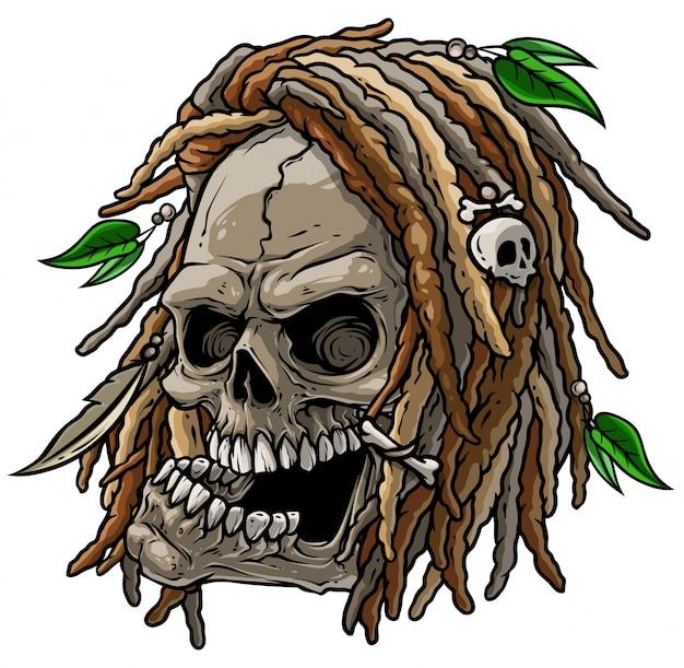 Crâne sauvage jamaïcain avec dreadlocks Vecteur Premium