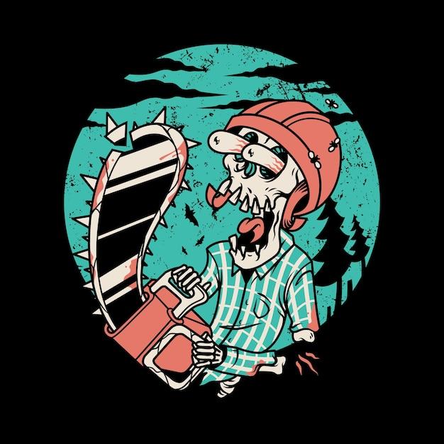Crâne Scie à Chaîne Dessin Animé Illustration Graphique Art Tshirt Design Vecteur Premium