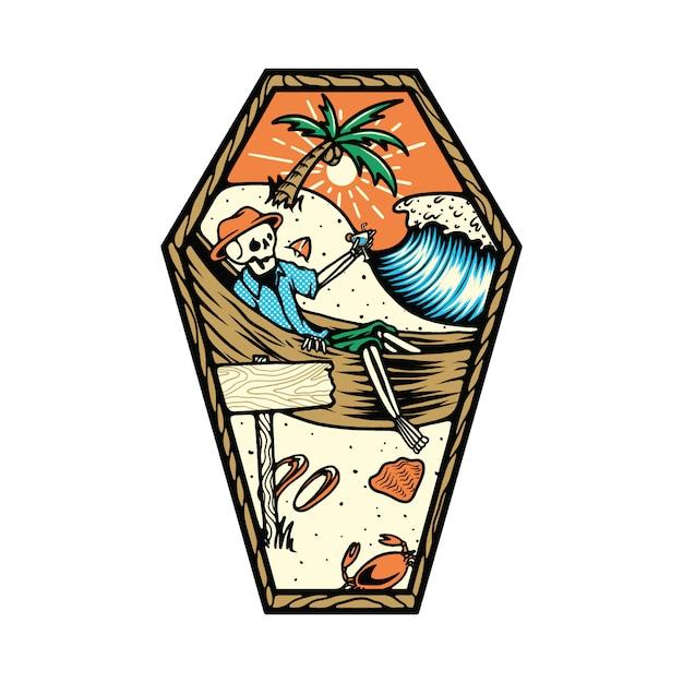 Crâne squelette mort été plage illustration Vecteur Premium