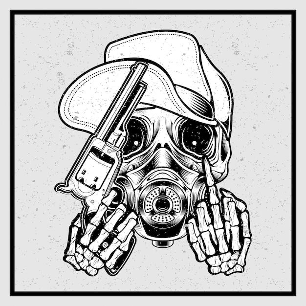 Crâne de style grunge coiffé d'un chapeau tenant un pistolet et un doigt Vecteur Premium