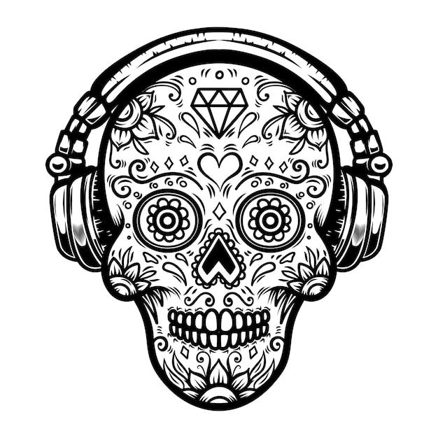 Crâne De Sucre Avec Des écouteurs. élément Pour Affiche, Carte, Impression, Emblème, Signe. Image Vecteur Premium