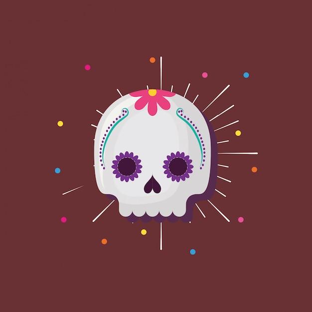 Crâne de sucre mexicain Vecteur Premium