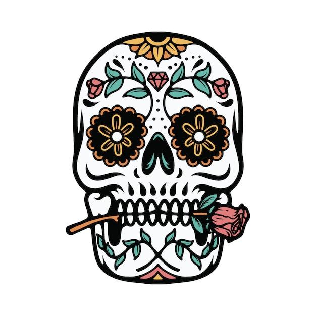 Crâne t-shirt illustration ornement mexicain Vecteur Premium