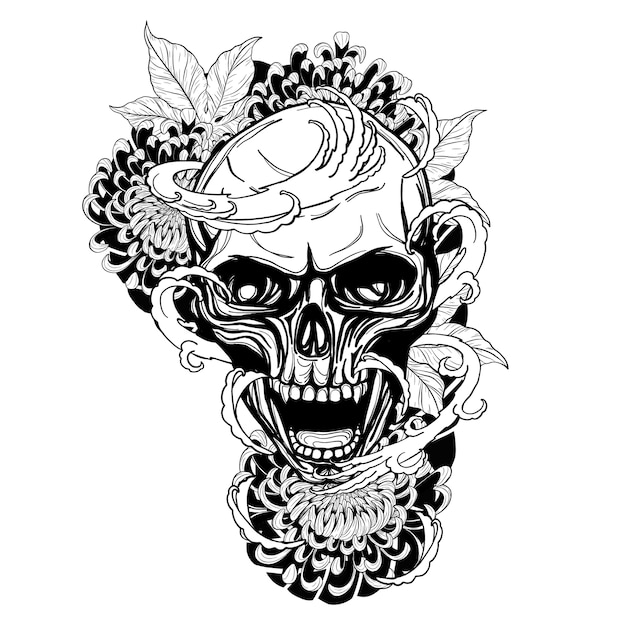 Crâne avec tatouage de chrysanthème à la main en dessinant Vecteur Premium