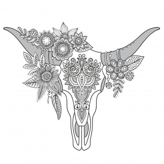 Crâne De Taureau Indien Décoratif Avec Ornement Ethnique Plumes