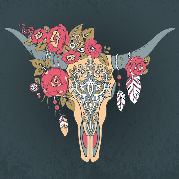 Crâne De Taureau Indien Décoratif Avec Ornement Ethnique Vecteur Premium