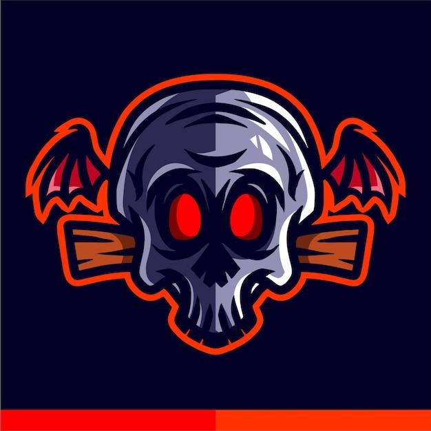 Crâne, tête, ailes, illustration Vecteur Premium