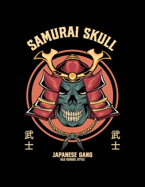 Crâne Avec Tête De Samouraï Vecteur Premium