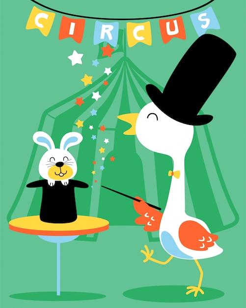 Crane the magician in cirque show cartoon Vecteur Premium