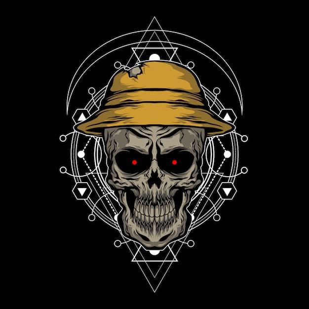 Le Crâne Utilisant Un Chapeau Vecteur Premium