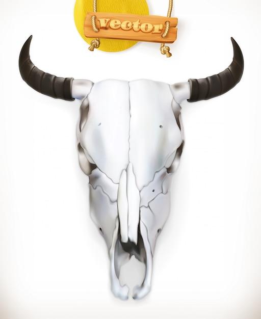 Crâne De Vache. Aventure Occidentale. 3d Vecteur Premium