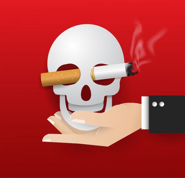 Crâne sur vecteur de main illustration du concept aucun monde de jour de fumer. journée sans tabac Vecteur Premium