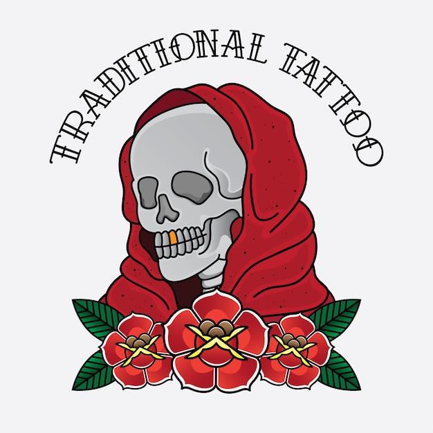 Crâne de vecteur de tatouage traditionnel Vecteur Premium