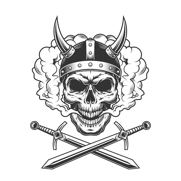 Crâne Viking Dans Un Nuage De Fumée Vecteur gratuit