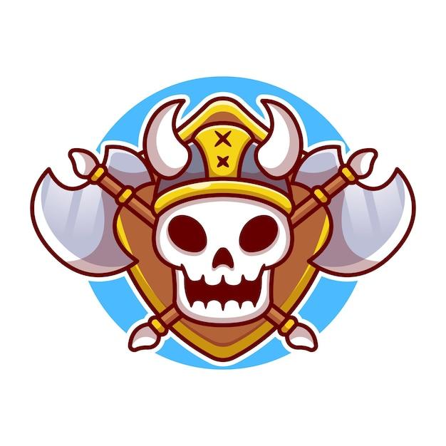 Crâne De Viking Mignon Avec Illustration De Dessin Animé De Hache. Concept Viking Isolé. Style De Bande Dessinée Plat Vecteur gratuit