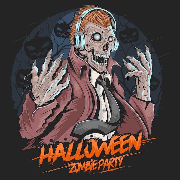 Crâne zombie dj music party halloween vecteur élément Vecteur Premium