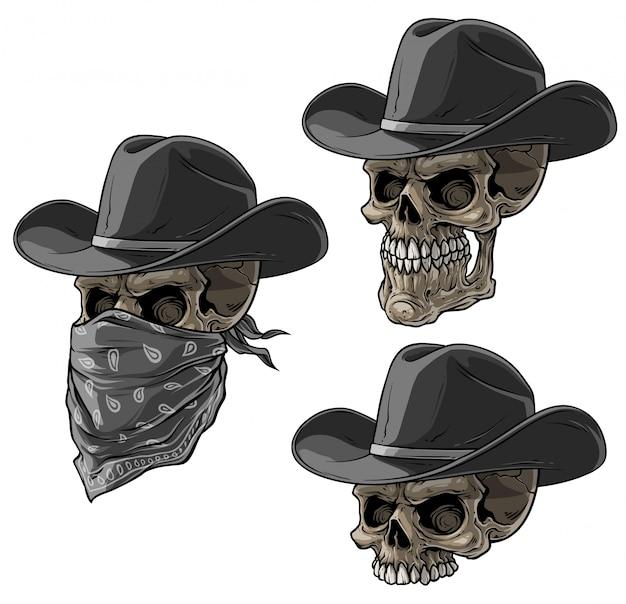 Crânes De Bandits Avec Bonnet Et écharpe Vecteur Premium