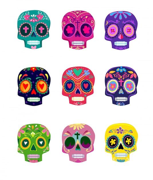 Les crânes colorés décoratifs définissent le jour de l'illustration vectorielle mort. dia de los muertos mexicain. Vecteur Premium