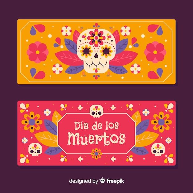 Crânes colorés pour les bannières plates de día de muertos Vecteur gratuit