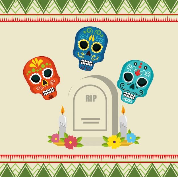 Crânes avec déchirure et bougies au jour des morts Vecteur Premium