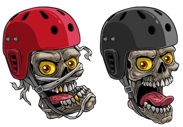 Crânes de dessin animé dans un casque de skateboard protecteur Vecteur Premium