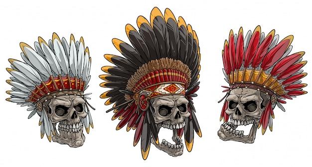 Crânes de dessin animé dans la coiffe de chef indien américain Vecteur Premium