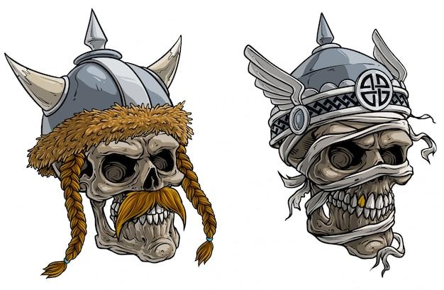 Crânes de guerriers viking dans un casque en métal Vecteur Premium