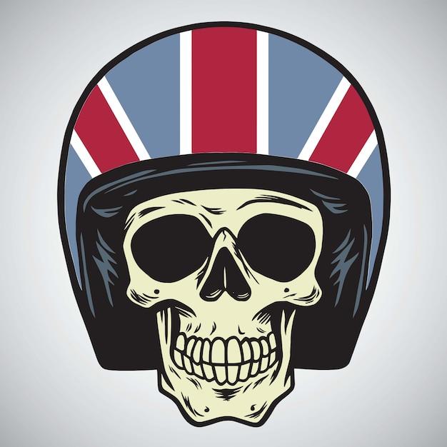 Crânes avec illustration vectorielle de casque de moto en angleterre Vecteur Premium