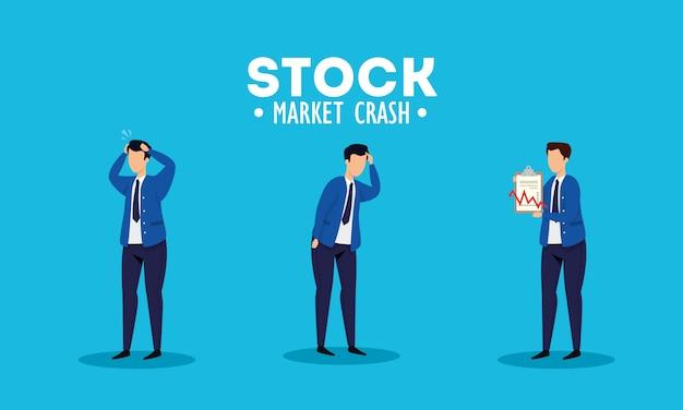 Crash Boursier Avec Des Hommes D'affaires Inquiets Vecteur gratuit