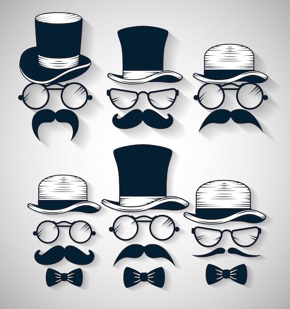 Cravate Noeud Avec Chapeau Et Lunettes Avec Moustache Illustration Ensemble Vecteur gratuit