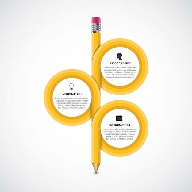 Crayon arrondi infographique éducatif avec trois options Vecteur Premium