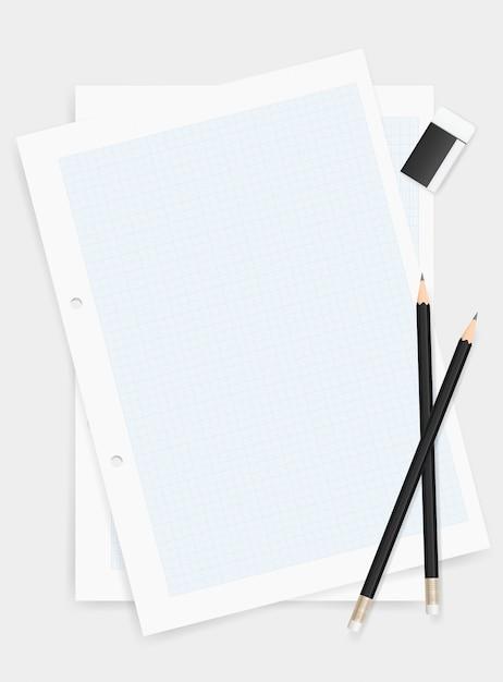 Crayon et gomme sur fond de papier à dessin. Vecteur Premium